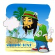 Rasta character on a beach-background. Vector illustration. Place for your text. — Stock Vector