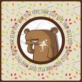 Greeting card with bear and branches. Place for your text. Vector illustration. — Stock Vector