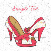 Fashion shoes with floral print. Vector illustration. Place for your text. — Stock Vector