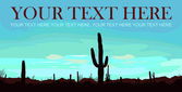 Mexicaanse woestijn zonsopgang met cactus. vectorillustratie. plaats voor uw tekst. — Stockvector
