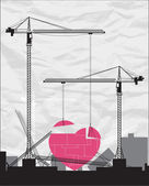 Abstract vector illustration with cranes and heart. — Stock Vector