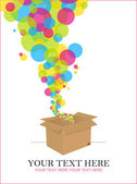 Balloons taking off from a box. Abstract vector illustration. Place for your text. — Stock Vector