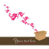 Amour qui décollait d'une boîte. abstract vector illustration. lieu pour votre texte. — Vecteur