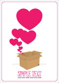 Hearts taking off from a box. Abstract vector illustration. — Stock Vector