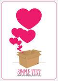 Corazones sacando de una caja. ilustración vectorial abstracto. — Vector de stock