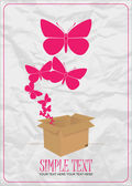 Butterflies taking off from a box. Abstract vector illustration. Place for your text. — Stock Vector