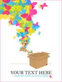 Decolando de uma caixa de borboletas. ilustração em vetor abstrato. lugar para o seu texto. — Vetorial Stock