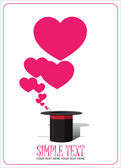 Hearts taking off from magic hat. Vector illustration. Place for your text. — Stock Vector