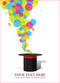 Balloons taking off from magic hat. Vector illustration. Place for your text. — Stock Vector
