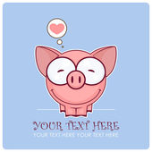 Cute vector piggy with heart. Place for your text. — Stock Vector
