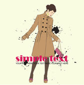 Autumnal fashion girl in a coat in sketch-style on a dirty-background. Vector illustration. — Stock Vector