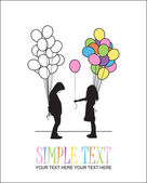 Boy and girl with balloons. Vector illustration. — Stock Vector