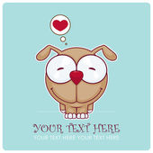 Vector illustration of funny doggy. Place for your text. — Stock Vector