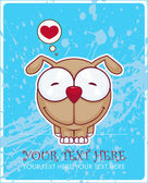 Vector illustration of cute doggy on a dirty background. Place for your text. — Stock Vector