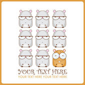 Vector illustration with cute cartoon hamsters. Place for your text. — Stock Vector