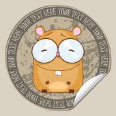 Vektor-aufkleber mit cartoon-hamster. platz für ihren text. — Stockvektor