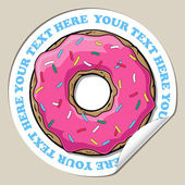 Vector sticker with cartoon donut. Place for your text. — Stock Vector