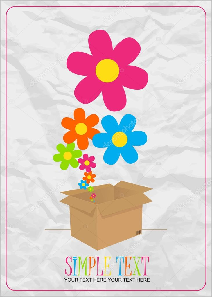Abstract vector illustration with box and flowers.  Stock Vector #19479199
