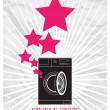 Abstract vector illustration of washing machine and stars. - Imagens vectoriais em stock