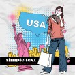 Fashion girl with shopping bag in sketch-style on a usa-background. Vector illustration. Place for your text. — Stock Vector