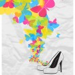 Vector illustration of a high-heeled shoes and butterflies. — Stok Vektör