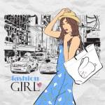 Lovely girl on a street background. Vector illustration — Stock Vector