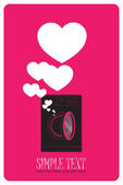 Vector illustration of washing machine and hearts. — Stock Vector