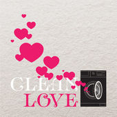 Ilustración vectorial abstracto de lavadora y corazones. — Vector de stock