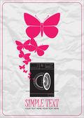 Abstract vectorillustratie van wasmachine en vlinders. — Stockvector
