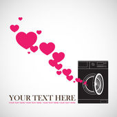 Abstract vector illustration of washing machine and hearts. — Vecteur