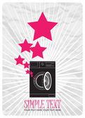 Abstract vector illustration of washing machine and stars. — Vector de stock