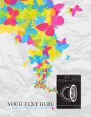 Illustrazione vettoriale astratta della lavatrice e farfalle. — Vettoriale Stock