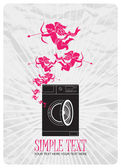 Abstract vector illustration of washing machine and cupids. — ストックベクタ