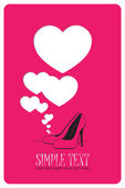 Vector illustration of a high-heeled shoes and hearts. — Stock Vector