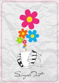 花を手でカップの抽象的なベクトル イラスト。あなたのテキストのための場所. — ストックベクタ