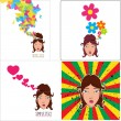 Vector set of abstract illustrations of beautiful girl head. - Stock Vector