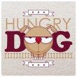 Vector illustration with hungry dog and bone. - Stock Vector