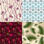 向量组的抽象植物群无缝纹理. — 图库矢量图片