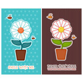 Set of vector greeting card with flower and bees. — Stock Vector