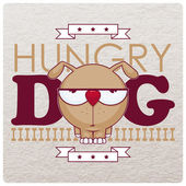 Vector illustration with hungry dog and bone. — Stock Vector