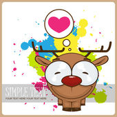 Vector illustration of cartoon funny doggy with heart on a dirty background. — Stock Vector