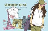 şapka fransız arka plan bahar kız. vektör çizim — Stok Vektör