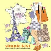 Våren flicka med hatt på en fransk bakgrund. vektor illustration — Stockvektor
