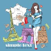 フランス語の背景に帽子と春の少女。ベクトル イラスト — ストックベクタ