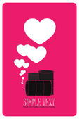 Abstract vector illustration of barrels and hearts. Place for your text. — Vecteur