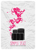 Vector illustration of barrels and cupids. Place for your text. — Cтоковый вектор