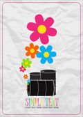 Vector illustration of barrels and flowers. Place for your text. — Stock Vector