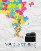 Illustrazione vettoriale astratta di botti e farfalle. posto per il vostro testo. — Vettoriale Stock