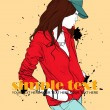 Autumnal fashion girl on a grunge background. Vector illustrator. Place for your text — Stock Vector