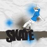Skateboarder in action on a grunge-background. Vector illustration. — Stock Vector